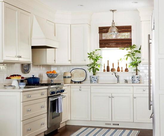Desain Interior Dapur Cantik Yang Mungil dengan Tambahan Tanaman Hias