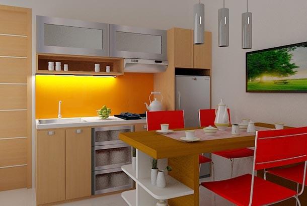 Warna Cat Desain Interior Dapur Cantik Yang Mungil