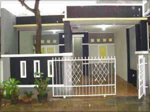 Contoh desain pagar batu alam rumah minimalis type 36 dengan bahan tambahan logam