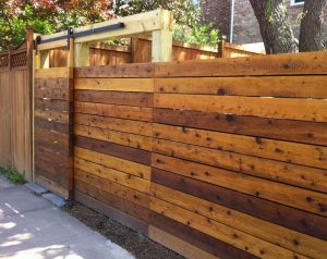 model pintu pagar kayu geser